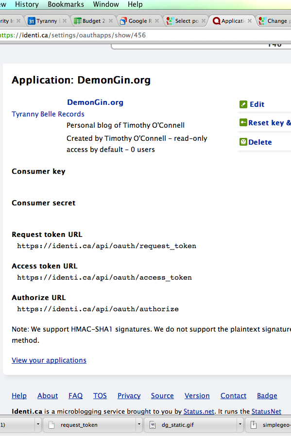 The screen on http://identi.ca that shows consumer and secret keys for my consumer application.