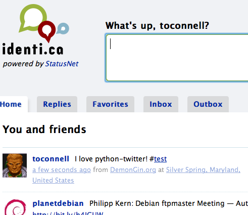 Successful test update, as shown in the http://identi.ca web UI.