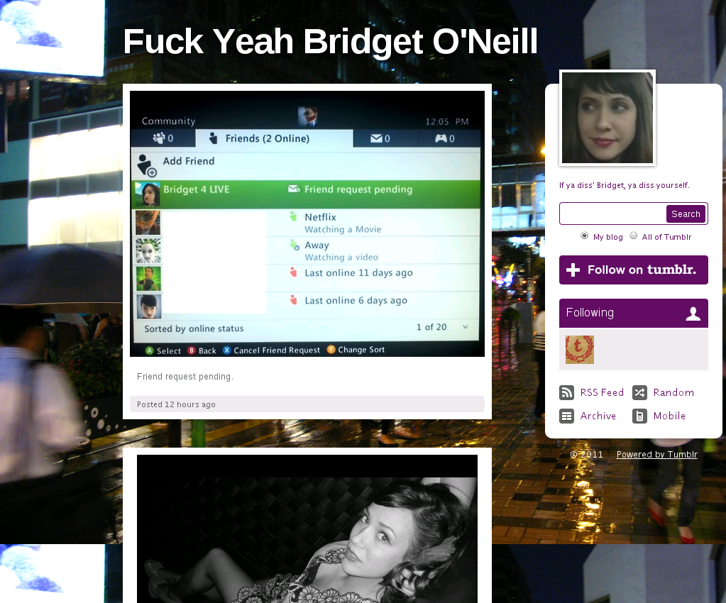 Screen capture of fuckyeahbridgetoneill.tumblr.com